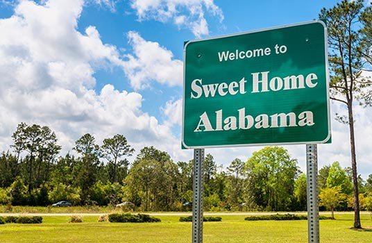 Alabama state welcome sign
